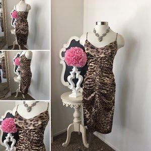 🌺Adriana Papell Boutique Animal  Print Silk Dress